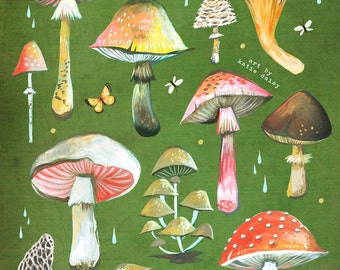 Mushroom Chart - various sizes - STRETCHED CANVAS - Katie Daisy art