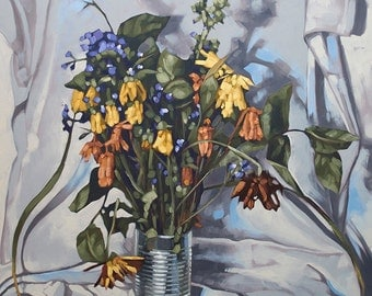 "Oil Painting Flowers Still Life, Original Contemporary Art, Floral Botanical Painting, Wilted Flowers, Fine Art - ""Bargain Bin Bouquet"""