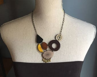 Black gray yellow brown bib with charms from India antique coin