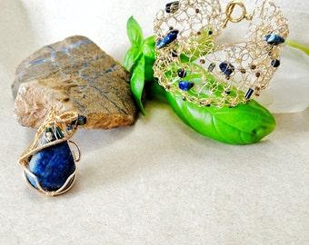 Lapis Lazuli Jewelry Set - Wire Wrapped Pendant - December Birthstone Jewelry - Handmade Bridal Jewelry Set- Healing Crystal Jewelry - Boho