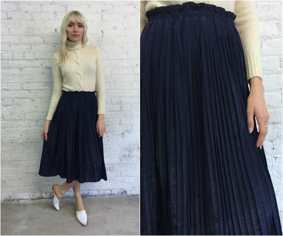 Navy Blue Pleated Midi Skirt | Jill Dress