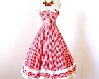 SOLD vintage 1940's dress ...classic ORIGINAL DESIGN red gingham cotton shirred bust full skirt pin-up starlet summer sun party dress