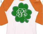 SALE - St. Patricks Day St. Patrick's Day shirt monogram green clover personalized raglan Tshirt - adorable custom monogrammed raglan shirt