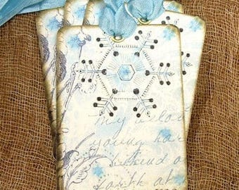 Soft Blue Winter Snowflakes Gift or Scrapbook Tags or Magnet #142