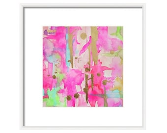 Pink Abstract Watercolor Art Print-Pink Painting-Archival Print-Giclee Reproduction of Watercolor-Wall Art