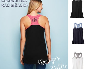 Monogrammed Racerback - Colorblock Racerback | Monogram Tank Tops | Workout Tank Top | Personalized Tank | Personalized Gift | Gift for Her