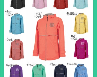 Monogrammed Rain Jacket - Personalized Adult Sizes - Charles River Rain Coats