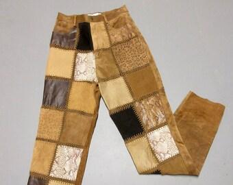 Vintage 1970s Boho Suede / Leather Patchwork Pants, Sz S