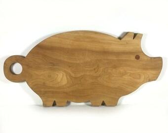 Vintage Pig Wood Cutting Board, Inlaid Eyes