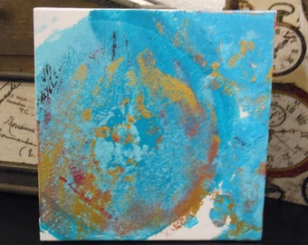 Turquoise and Gold - Original Art, Acrylic Painting, breast painting, abstract art, canvas board