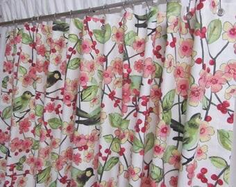 Bird Shower Curtain, Spring Blossom Fabric Shower Curtain, Pink Kiwi Shower Curtain, Bird Bathroom Decor, Cottage Chic Decor
