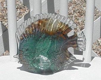 Art Glass Reef Fish Teal and Brown Vintage