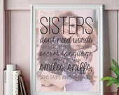 Trendy Sister Gift, Sister Language, Favorite Sister, Sister Christmas Gift  // Giclée Art Print or Canvas Print // H-Q107-1PS ZZ1