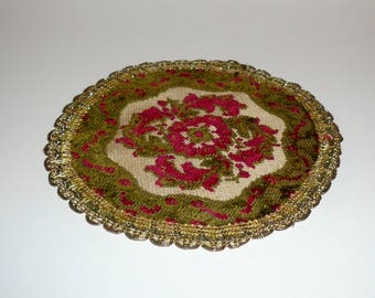 Dollhouse Miniature Furniture Round Rug Gold Trim Rug Living Room Rug Miniature