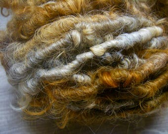 RESERVED for T--Handspun  Super Bulky Lincoln Longwool Art Yarn in Peach Brown Beige Grey by KnoxFarmFiber for Knit Weave Embellishment