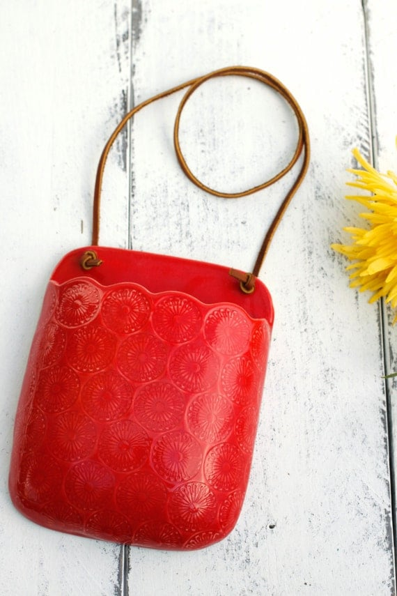Red wall vase