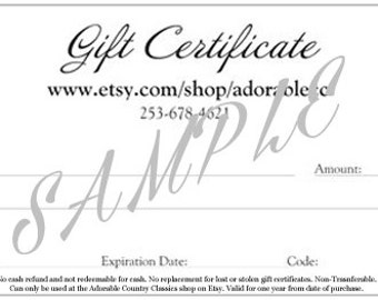 Gift Certificates, Mother's Day Gift, Last Minute Gift Idea, Printable Gift Certificate, Present For Mom, Adorablecc