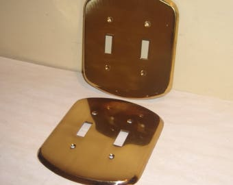 Brass Light Switch Cover Plate Double Toggle wall hardware set pair two Edmar Angelo vintage