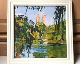 Central Park Landscape Framed Square The San Remo New York City Art NYC Art Wall Decor Art Print NYC landscape Painting by Gwen Meyerson