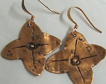 Copper Flower Earrings - Mothers Earrings -  Dogwood Flower Earrings.