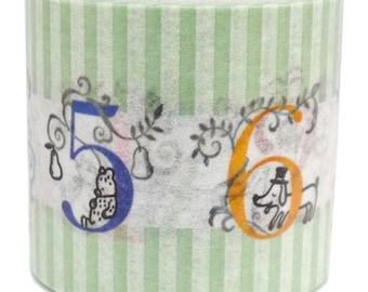 210885 green white stripe animal number Washi Masking Tape deco tape Shinzi Katoh