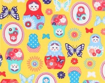 214111 yellow with Matryoshka butterfly oxford fabric by Kokka