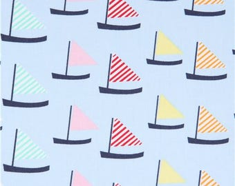 214152 light blue cute colorful sailboat fabric by Dear Stella USA