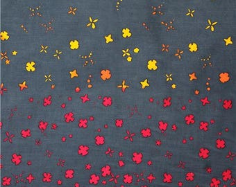 194850 dark grey teal flower double border cotton fabric by Andover USA