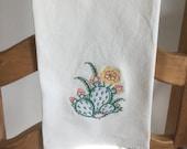 CACTUS ----  PRICKLY PEAR  Cactus. Machine embroidered Flour Sack/Tea Towel