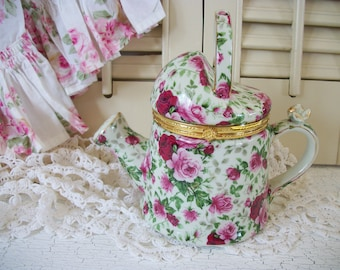 Formalities By Baum Bros. Victorian Rose Chintz Collection China Watering Can Trinket Holder Home Accent Home Decor Decorative China