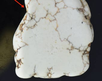 Magnasite pendant, natural stone sliced 44mm long, hole through top, white , 09146/sm