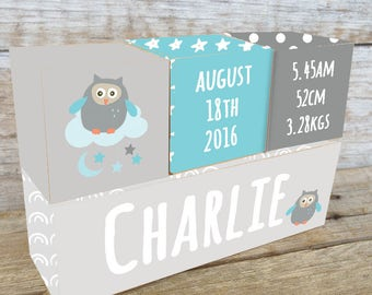 Personalized Wooden Name Birth Blocks Custom Made Owl Cloud Stars