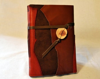 Red Earthy Leather Patchwork Journal with Recycled Paper-Large