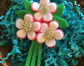 Felt Flower Bouquet Pin, Pink and White with Vintage Rhinestone Buttons - Perfect Easter Boutonniere