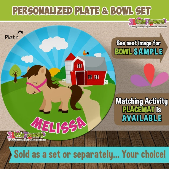 Il_570xn & Horse Plate and Bowl Set - Personalized Plastic Children Plate ...