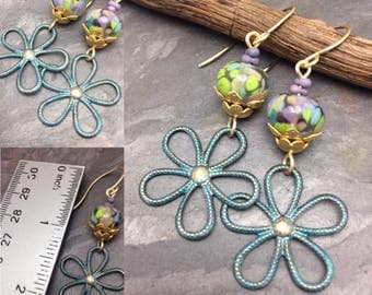 Pushing Daisies Earrings with Lamp Work Glass Beads, Gold, Free Shipping