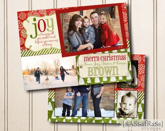 Joy--Christmas Card Template for Adobe Photoshop, Photographer Template, Instant Download, DIY, Commercial Use