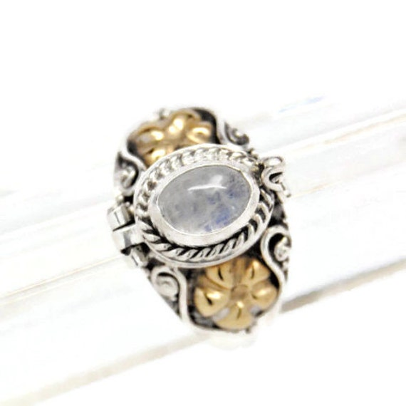 moonstone sterling silver gold urn ring cremation jewelry size
