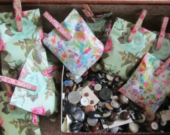 Lucky Dip - Pretty Bags With Assorted Vintage Buttons - All Shapes & Sizes - Sewing Crafts