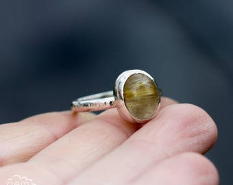 Sterling silver and Golden rutilated quartz stacker, stacking ring - Carrack -