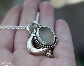 Sterling silver, Druzy and Cast Moon Charm necklace, boho style, - Moon Child Story Teller Series -