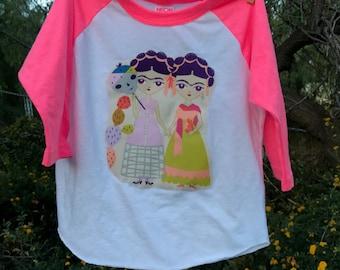 SALE! FRIDA KAHLO Esperanza Dual Fridas Girls Embellished Raglan Tee Size 4 Ready-to-Ship