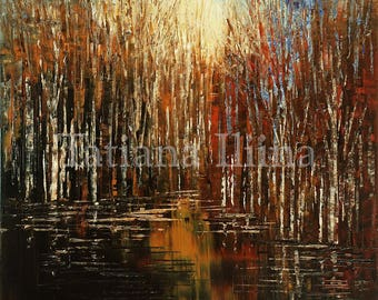 Hand textured giclee print on CANVAS of original forest painting INTENSE LANDSCAPE by Tatiana Iliina stretched #10/50