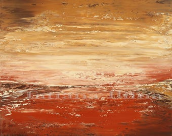 Martian planet land giclee print on CANVAS of original Alien ARTSCAPE Painting textured stretched ABSTRACT art - by Tatiana Iliina