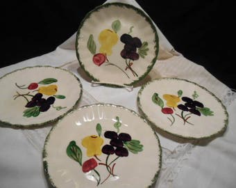 4- Dessert/ Salad Plates by Blue Ridge Southern Pottery in Fruit Fantasy Pattern