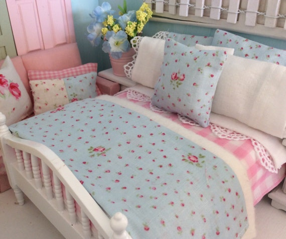 Shabby Pale Blue Lecien Fabric  Dollhouse Miniature Bed and Bedding-1:12 scale