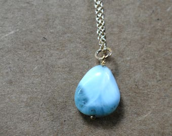 genuine larimar pendant necklace on 14k gold filled chain. pretty pale blue larimar focal pendant. unique larimar necklace. larimar jewelry