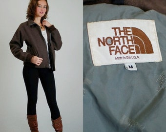 sale 25% rainy days sale North Face Brown Label Vintage Brown Wool American Made NORTH FACE Bomber Jacket (m l)