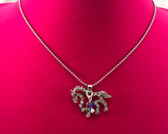 Silver Tone, Rhinestones, Wild Horse Necklace