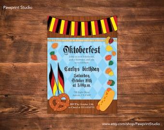 CUSTOM PRINTABLE Invitation: Oktoberfest Birthday Invitation (Customizable)